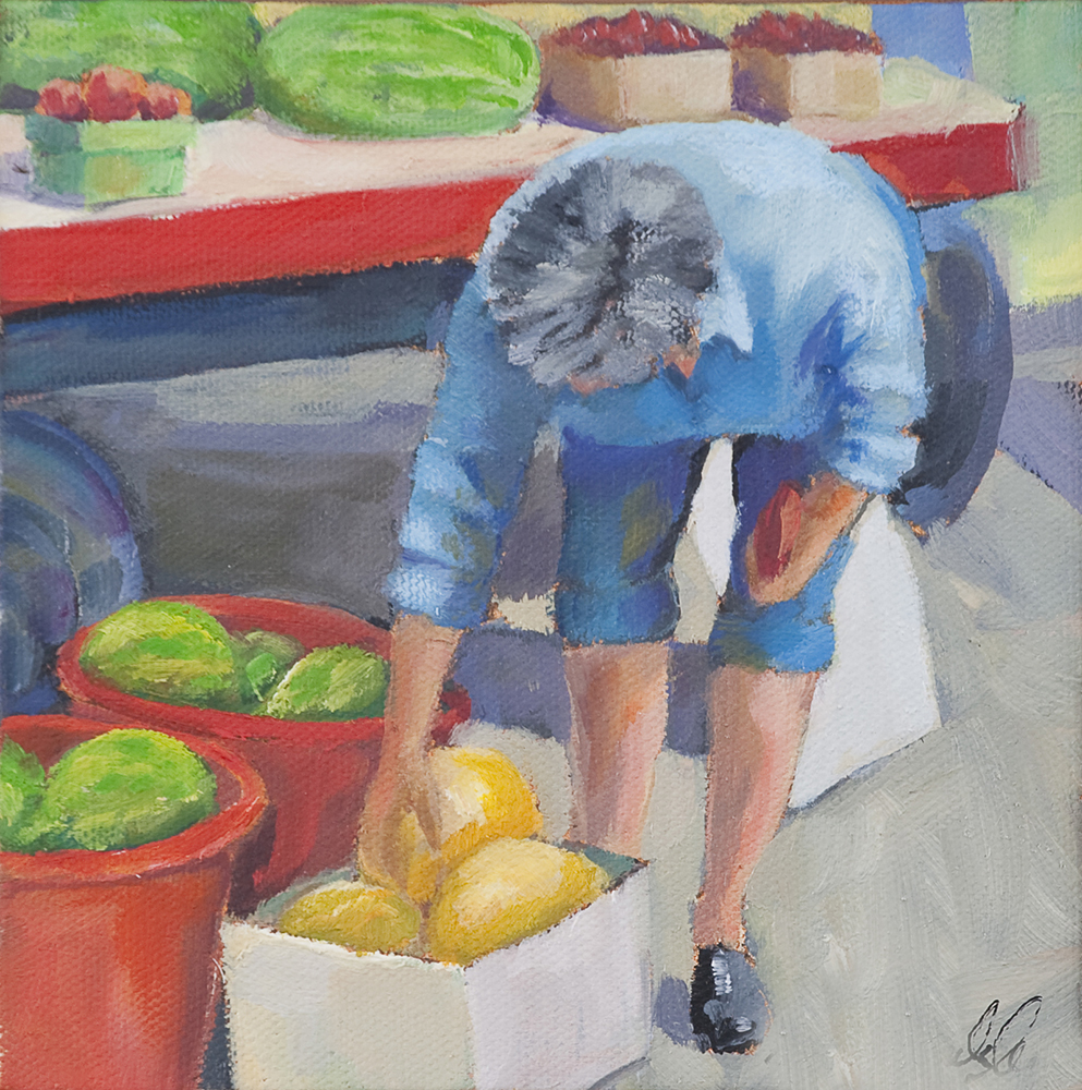 Melons, oil on panel, 6 x 6 inches, private collection
