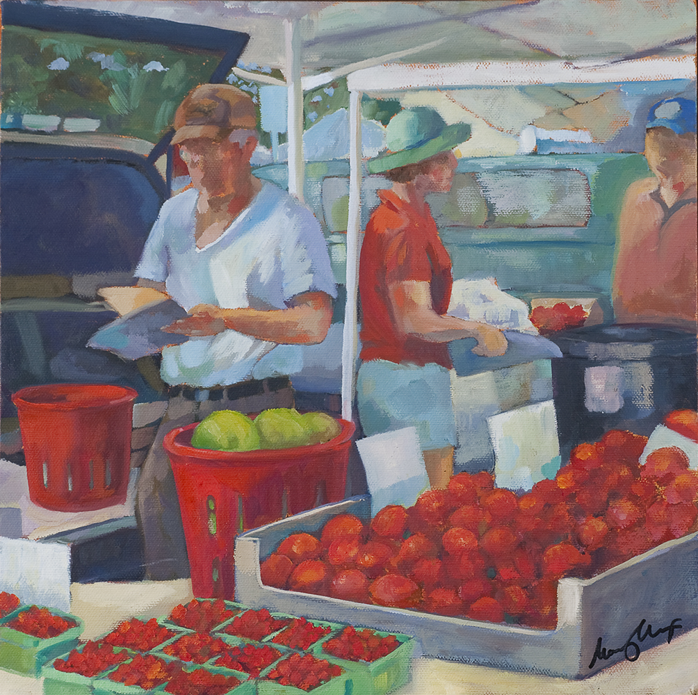 Mr. Brown's Tomatoes, 2012, oil on canvas, 12 x 12 inches, private collection