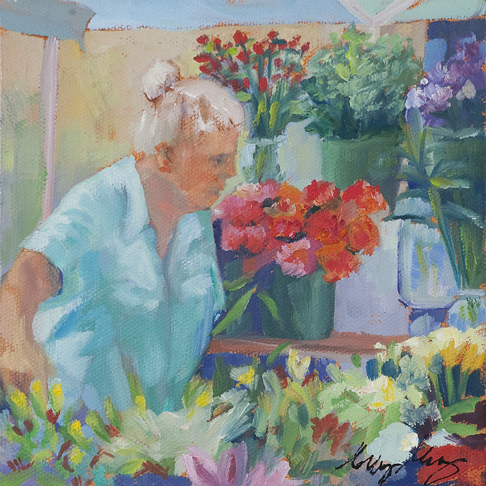 The Gardener, 2012, oil on canvas, 6 x 6 inches, private collection